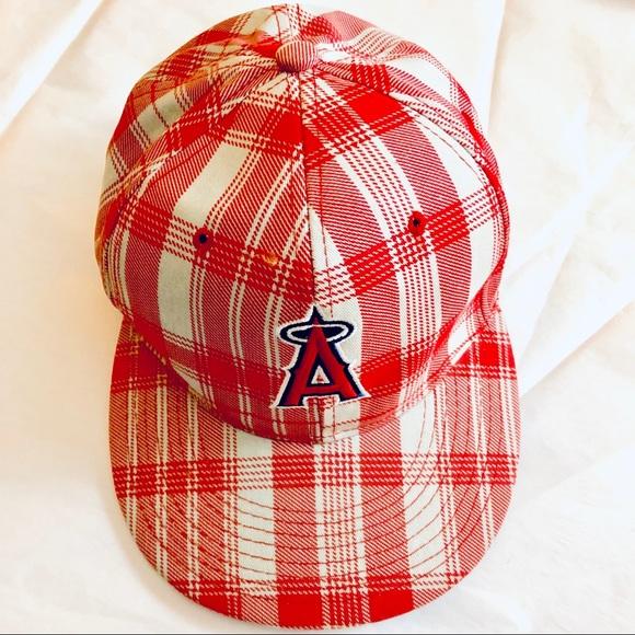 4faf6455b57af8 Accessories | Los Angeles Angels Mlb Red Plaid Baseball Cap | Poshmark